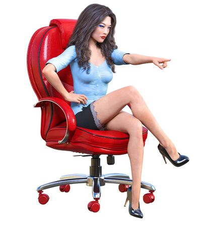 Long-haired sexy brunette secretary in mini skirt.Beautiful girl sitting office leather chair sexually explicit pose.Secretary uniform.Beautiful underwear collection.3D rendering isolate illustration Banque d'images - 131085354