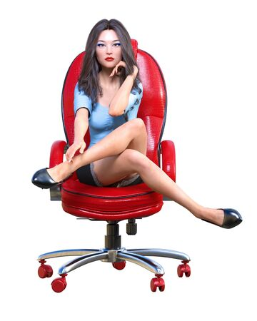 Long-haired sexy brunette secretary in mini skirt.Beautiful girl sitting office leather chair sexually explicit pose.Secretary uniform.Beautiful underwear collection.3D rendering isolate illustration Banque d'images - 131085555