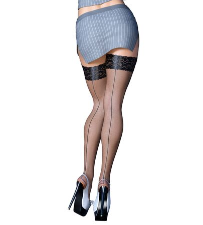 Beautiful long slender sexy female legs short gray skirt stockings.Outerwear Spring Autumn Clothing.Provocative liberated pose.3D rendering isolate.Conceptual fashion art.Office secretary uniform Imagens