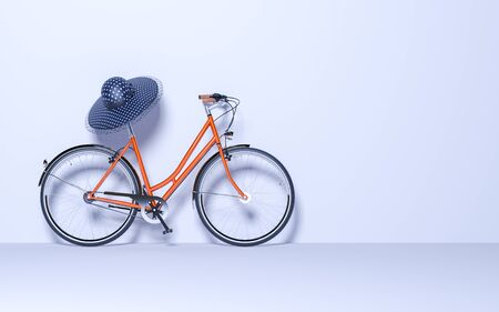 Ecological urban transport. Vintage bicycle in the room against wall. Studio photography. Copy space. Womens hat on the steering wheel. 3D render bike conceptual illustration.