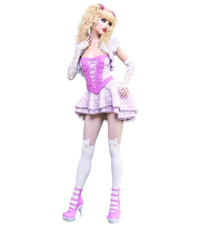 Young beautiful goth girl with doll face posing photo shoot. Short pink dress, stockings, shoes. Long blonde hair. Bright goth make up. Conceptual fashion art. Realistic 3D render illustration. Imagens