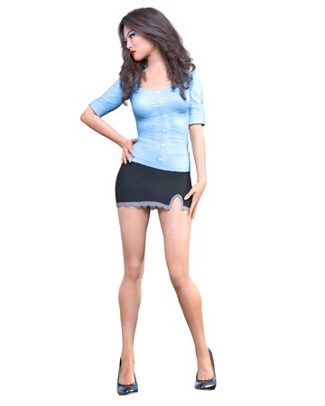 Long-haired sexy brunette secretary in mini skirt.Beautiful girl stand sexually explicit pose.Secretary uniform.Beautiful underwear collection.3D rendering isolate illustration Banque d'images - 131085818