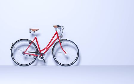 Ecological urban transport. Vintage bicycle in the room against wall. Studio photography. Copy space. 3D render bike conceptual illustration.
