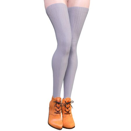 Beautiful female legs woolen leggings and half-beads. Sexy slim female legs boots. Autumn-Spring Collection. Seductive pose. Conceptual fashion art. 3D render illustration Imagens
