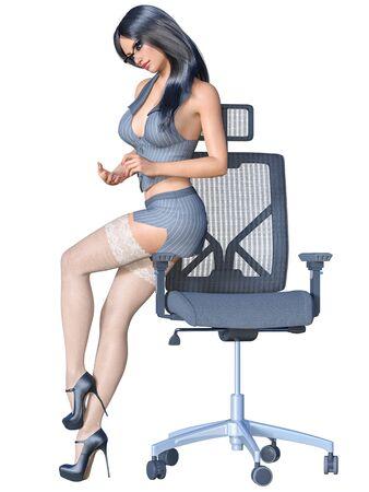 Secrétaire brune aux cheveux longs uniforme bas blanc.Veste à rayures mini jupe courte.Belle fille lunettes pose sexuellement explicite.Rendu 3D isoler l'illustration. Banque d'images