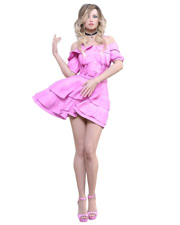 Beautiful blonde woman in light pink summer waving dress.Summer clothes collection.Bright makeup.Woman studio photography.Conceptual fashion art.Seductive candid pose.Femme fatale.3D Render.