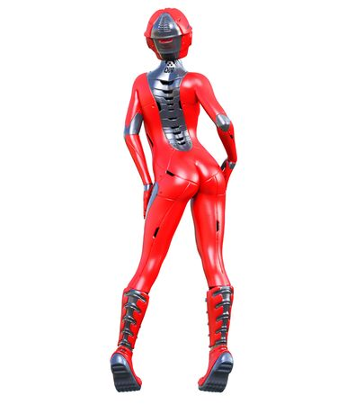 Robot woman.Red matte metal droid.Android girl.Artificial Intelligence.Conceptual fashion art.3D render illustration.Studio, isolate, high key. Banco de Imagens