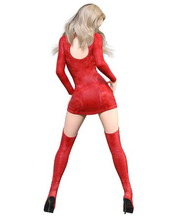 3D Beautiful woman in red short leather dress and long boots.Spring-autumn collection clothes.Bright makeup.Woman studio photography.Conceptual fashion art.Seductive candid pose.Render. Stock fotó