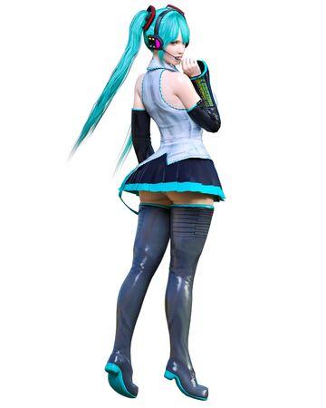 3D sexy anime japanese girl.Futuristic extravagant latex skirt clothing.Headphones with microphone.Comic cosplay hero.Cartoon, comics, manga illustration.Conceptual fashion art.Isolate for popsocket Banco de Imagens
