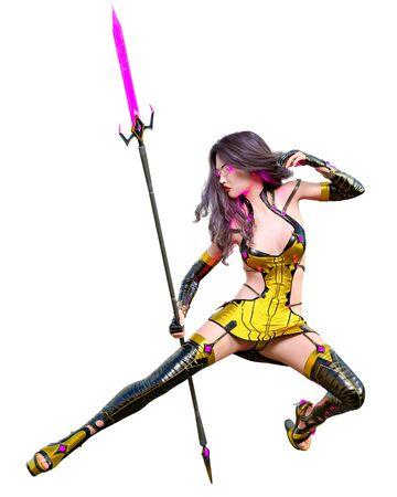 3D japanese assassin warrior amazon woman render. Futuristic costume llustration. Conceptual fashion art. Seductive candid pose. Isolated. Banco de Imagens