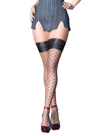 Beautiful long slender sexy female legs short gray skirt stockings.Outerwear Spring Autumn Clothing.Provocative liberated pose.3D rendering isolate.Conceptual fashion art.Office secretary uniform Banco de Imagens