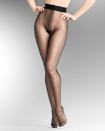Beautiful long slender sexy female legs black nylon pantyhose.Intimate underwear collection clothing.Provocative liberated pose.3D rendering gray background.Conceptual fashion art Banco de Imagens