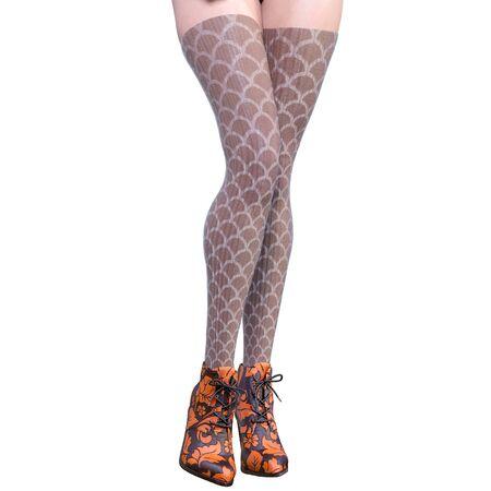 Beautiful female legs woolen leggings and half-beads. Sexy slim female legs boots. Autumn-Spring Collection. Seductive pose. Conceptual fashion art. 3D render illustration Banco de Imagens