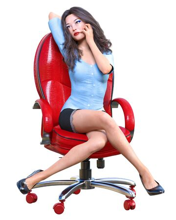 Long-haired sexy brunette secretary in mini skirt.Beautiful girl sitting office leather chair sexually explicit pose.Secretary uniform.Beautiful underwear collection.3D rendering isolate illustration