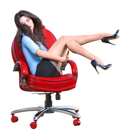 Long-haired sexy brunette secretary in mini skirt.Beautiful girl sitting office leather chair sexually explicit pose.Secretary uniform.Beautiful underwear collection.3D rendering isolate illustration 写真素材 - 132207448