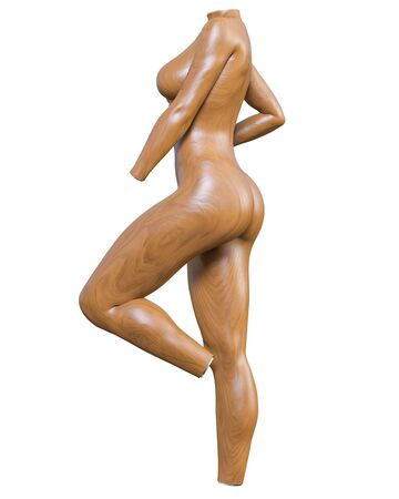 Female mannequin. Torso. Without head and limbs. Plastic, tree. Extravagant fashion art. 3D render isolate illustration.