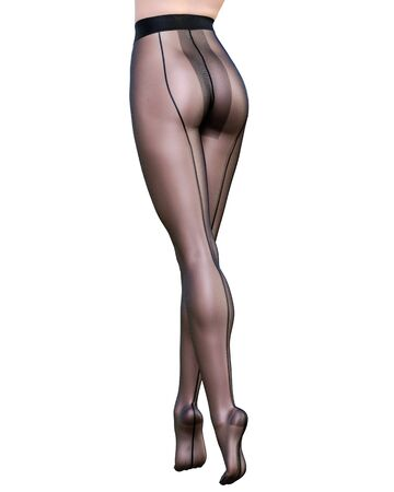 Beautiful long slender sexy female legs black nylon pantyhose.Intimate underwear collection clothing.Provocative liberated pose.3D rendering isolate.Conceptual fashion art. Banco de Imagens
