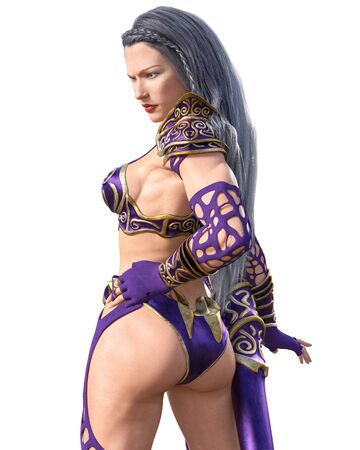 Warrior amazon archer woman. Quiver of arrows. Long dark hair. Muscular athletic body. Girl standing candid provocative aggressive pose. Conceptual fashion art. 3D rendering isolate illustration.