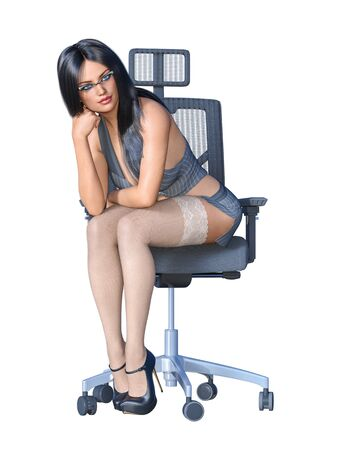 Long-haired sexy brunette secretary uniform white stocking.Short mini skirt striped jacket.Beautiful girl glasses sexually explicit pose.3D rendering isolate illustration. 写真素材 - 132872748