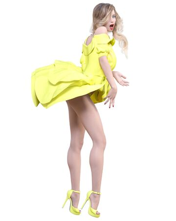 Beautiful blonde woman light summer waving dress.Bright makeup.Pin up girl.Skirt up wind.Woman studio photography.Conceptual fashion art.Seductive candid pose.Femme fatale.3D Render. 写真素材 - 132872749