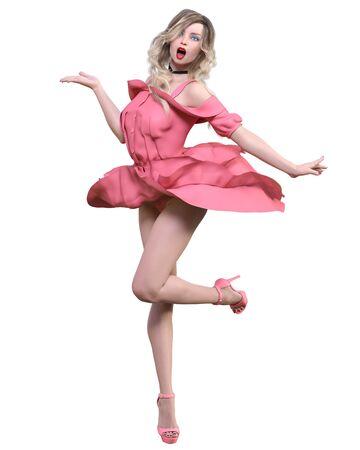 Beautiful blonde woman light summer waving dress.Bright makeup.Pin up girl.Skirt up wind.Woman studio photography.Conceptual fashion art.Seductive candid pose.Femme fatale.3D Render.