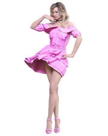 Beautiful blonde woman light summer waving dress.Bright makeup.Pin up girl.Skirt up wind.Woman studio photography.Conceptual fashion art.Seductive candid pose.Femme fatale.3D Render. 写真素材 - 132872769