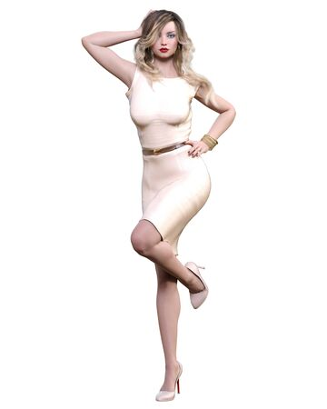 Beautiful woman in cream business suit dress.Blonde long hair.Woman studio photography.High heel.Conceptual fashion art.Seductive candid pose.3d render illustration. Banco de Imagens