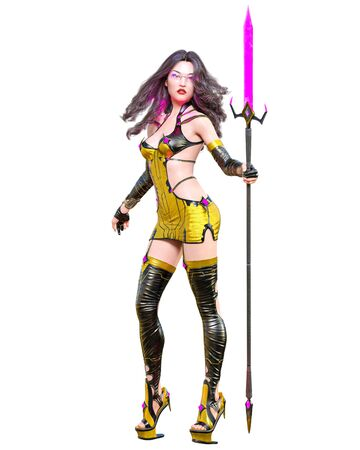 3D japanese assassin warrior amazon woman render. Futuristic costume llustration. Conceptual fashion art. Seductive candid pose. Isolated. 写真素材 - 132872875