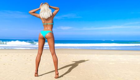 3D beautiful sun-tanned woman blue swimsuit bikini on sea beach. Summer rest. Blue ocean background. Sunny day. Conceptual fashion art. Seductive candid pose. Realistic render illustration. 写真素材 - 132872876