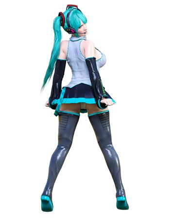 3D sexy anime japanese girl.Futuristic extravagant latex skirt clothing.Headphones with microphone.Comic cosplay hero.Cartoon, comics, manga illustration.Conceptual fashion art.Isolate for popsocket 写真素材 - 132872880