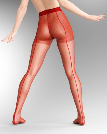 Beautiful long slender sexy female legs red nylon pantyhose.Intimate underwear collection clothing.Provocative liberated pose.3D rendering gray background.Conceptual fashion art. Banco de Imagens
