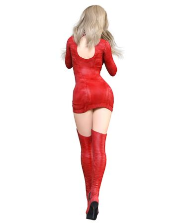 3D Beautiful woman in red short leather dress and long boots.Spring-autumn collection clothes.Bright makeup.Woman studio photography.Conceptual fashion art.Seductive candid pose.Render. 写真素材 - 132872975