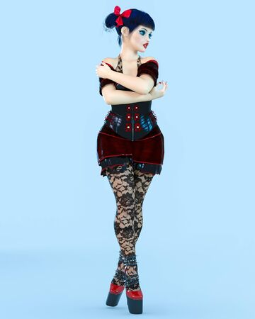 3D sexy girl doll big blue eyes and bright makeup.Black tights pantyhose. Woman retro style Goth.High heel.Bow dark hair.Conceptual fashion art.Seductive candid pose. Render illustration.