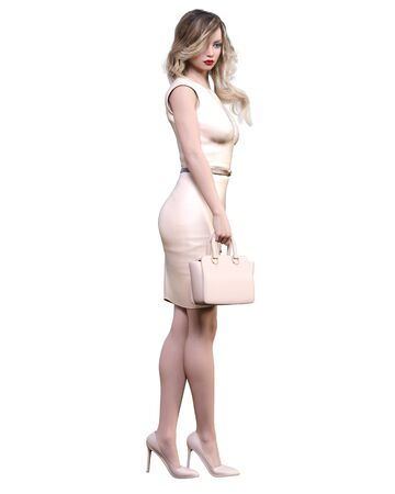 Beautiful woman in cream business suit dress handbag.Blonde long hair.Woman studio photography.High heel.Conceptual fashion art.Seductive candid pose.3d render illustration. Banco de Imagens