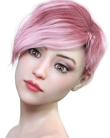 Portrait beautiful pretty young girl with brown eyes and red lips.Soft skin.Pink shot hair.Bright makeup.3D render illustration. Isolate. High key photo.