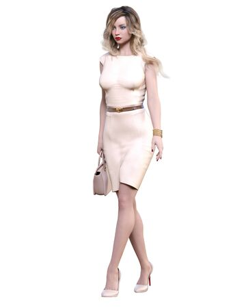 Beautiful woman in cream business suit dress.