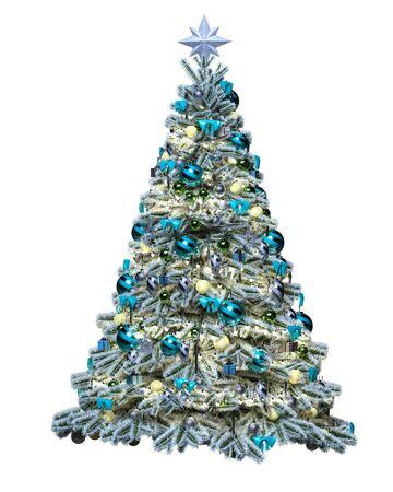 Weihnachtsbaum mit Spielzeug, Bällen, Girlanden. 3D-Darstellung zu isolieren. Neujahr.