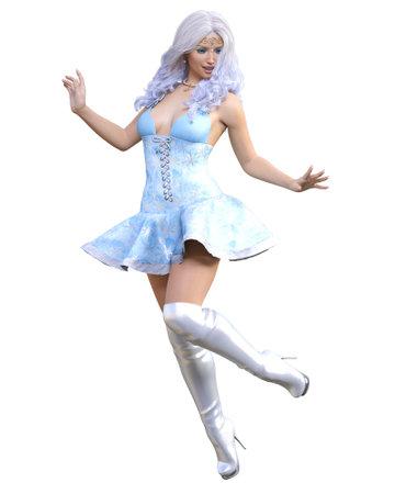 Young beautiful Santa girl. Short blue festive dress fur. Long blonde hair. Bright make up. Conceptual fashion art. 3D render isolate illustration. Christmas, New Year.