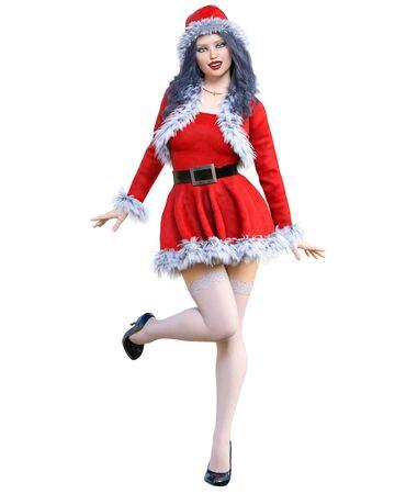 Young beautiful Santa girl. Short red warm festive dress fur. Long hair. Bright make up. Conceptual fashion art. 3D render isolate illustration. Christmas, New Year. 写真素材