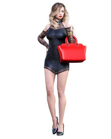Beautiful woman in cream business suit dress handbag.Blonde long hair.Woman studio photography.High heel.Conceptual fashion art.Seductive candid pose.3d render illustration. 写真素材