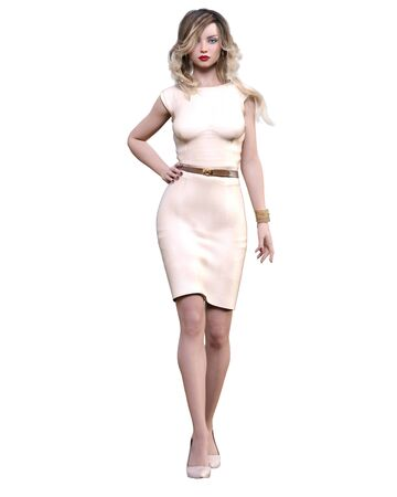Beautiful woman in cream business suit dress.Blonde long hair.Woman studio photography.High heel.Conceptual fashion art.Seductive candid pose.3d render illustration. 写真素材