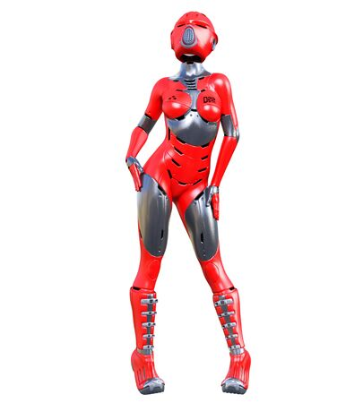Robot woman.Red matte metal droid.Android girl.Artificial Intelligence.Conceptual fashion art.3D render illustration.Studio, isolate, high key. 写真素材