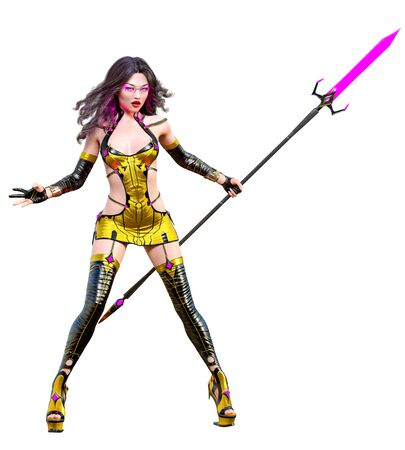 3D japanese assassin warrior amazon woman render. Futuristic costume llustration. Conceptual fashion art. Seductive candid pose. Isolated. Stock fotó