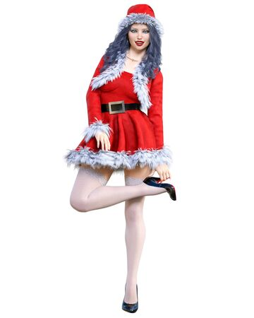 Young beautiful Santa girl. Short red warm festive dress fur. Long hair. Bright make up. Conceptual fashion art. 3D render isolate illustration. Christmas, New Year. Stock fotó