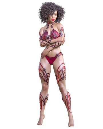 Warrior amazon woman. Long dark hair. Muscular athletic body. Girl standing candid provocative pose. Conceptual fashion art. 3D render isolate illustration. Hi key. Imagens - 133841585