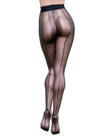 Beautiful long slender sexy female legs black nylon pantyhose.Intimate underwear collection clothing.Provocative liberated pose.3D rendering isolate.Conceptual fashion art. 免版税图像