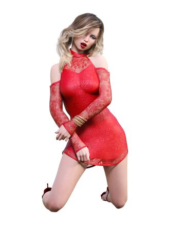 Beautiful woman in short evening red dress.Blonde long hair.Woman studio photography.High heel.Conceptual fashion art.Seductive candid pose.3d render illustration.