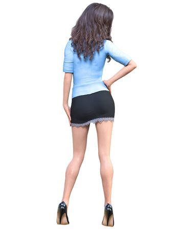 Long-haired sexy brunette secretary in mini skirt.Beautiful girl stand sexually explicit pose.Secretary uniform.Beautiful underwear collection.3D rendering isolate illustration