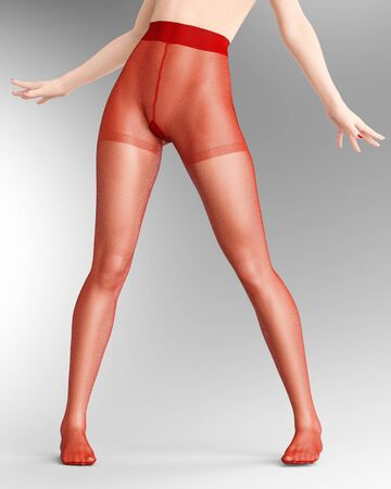 Beautiful long slender sexy female legs red nylon pantyhose.Intimate underwear collection clothing.Provocative liberated pose.3D rendering gray background.Conceptual fashion art. Stock fotó