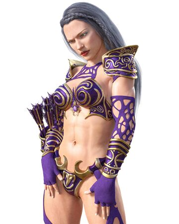 Warrior amazon archer woman. Quiver of arrows. Long dark hair. Muscular athletic body. Girl standing candid provocative aggressive pose. Conceptual fashion art. 3D rendering isolate illustration. Imagens - 133841646